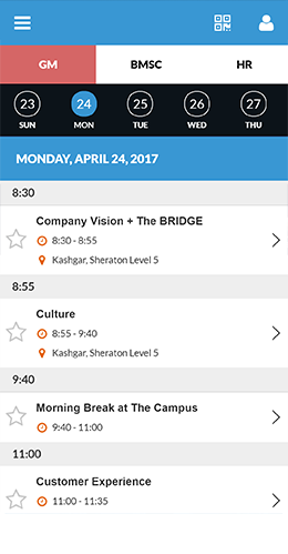 Schedule for the day in app