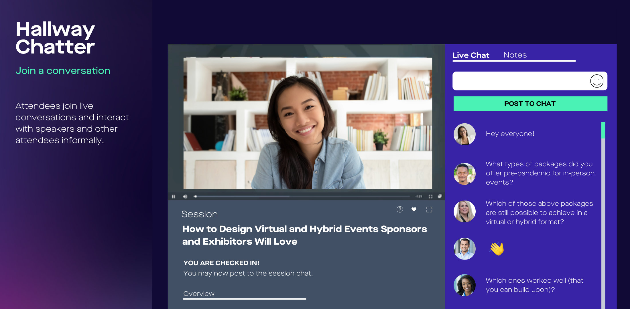 hallway chatter for virtual and hybrid events backend